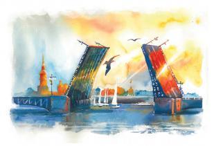 Открытки Санкт-Петербург акварель