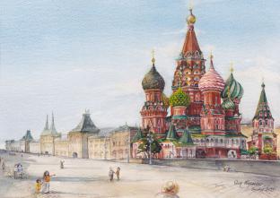 Открытки Москва акварель