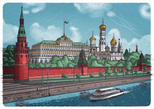 Открытки Москва иллюстрации