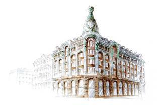 Открытки Санкт-Петербург тушь акварель