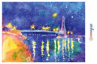 Открытка сувенир Краснодар акварель «Мост поцелуев»