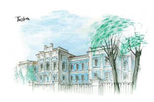 Открытка сувенир Тюмень тушь акварель «Здание государственной сельхозакадемии»
