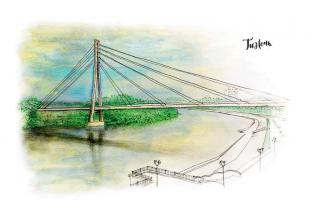 Открытка сувенир Тюмень тушь акварель «Мост Влюбленных»