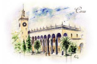 Открытка сувенир Сочи серия «Акварель» - «Железнодорожный вокзал»
