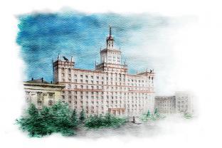 Открытка сувенир Челябинск серия «Акварель» - «Главный корпус ЮУрГУ»