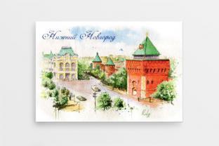 Магнит сувенирный закатный акварель Нижний Новгород «Дмитровская башня Нижегородского кремля»