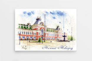 Магнит сувенирный закатный акварель Нижний Новгород «Нижегородская ярмарка»