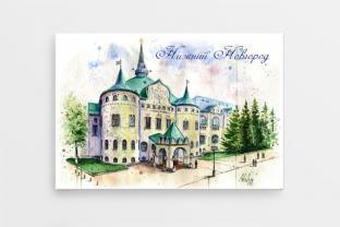 Магнит сувенирный закатный акварель Нижний Новгород «Государственный банк»