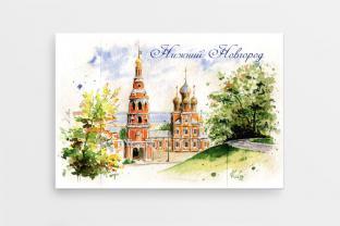 Магнит сувенирный закатный акварель Нижний Новгород «Рождественская церковь»