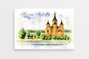 Магнит сувенирный закатный акварель Нижний Новгород «Собор св. Александра Невского»