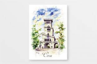 Магнит на холодильник сувенир Сочи серия «Акварель» - «Смотровая башня на горе Ахун»