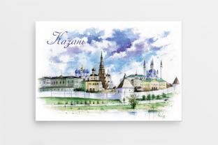 Магнит сувенирный закатный на холодильник - Казань «Казанский кремль»