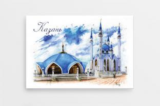Магнит сувенирный закатный на холодильник - Казань «Мечеть Кул-Шариф»