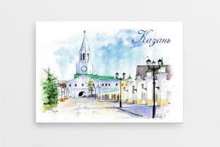 Магнит сувенирный закатный на холодильник - Казань «Спасская башня Казанского кремля»