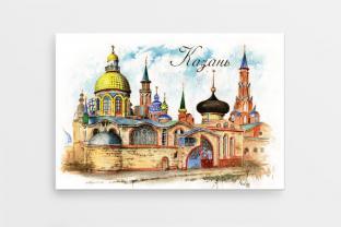 Магнит сувенирный закатный на холодильник - Казань «Храм всех религий»