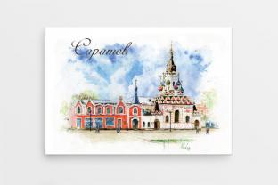 Магнит сувенирный закатный на холодильник - Саратов «Храм Утоли моя печали»