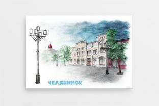 Магнит сувенирный закатный на холодильник - Челябинск «Пешеходная ул. Кирова»