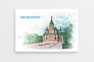 """Магнит сувенирный закатный на холодильник - Челябинск «Парк """"Алое поле""""»"""